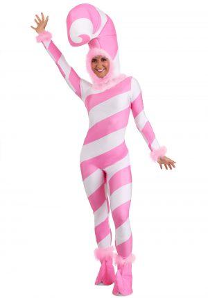 Fantasia feminina de bengala-de-açúcar rosa – Womens Pink Candy Cane Costume