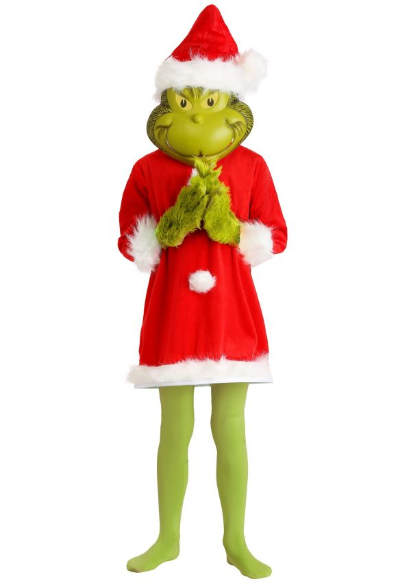 Fantasia infantil O Grinch Deluxe com máscara – Kids The Grinch Santa Deluxe Costume with Mask