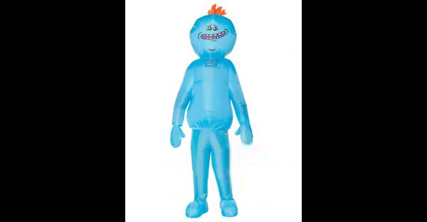 Traje inflável adulto do Sr. Meeseeks Rick e Morty – Adult Mr. Meeseeks Inflatable Costume Rick and Morty