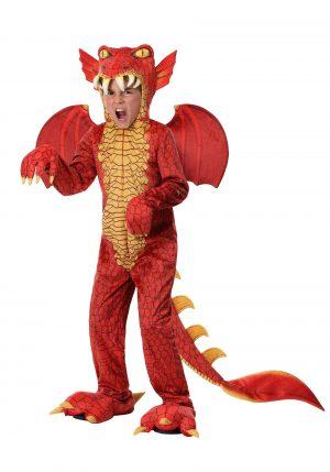 Fantasia de dragão vermelho de luxo infantil – Child's Deluxe Red Dragon Costume