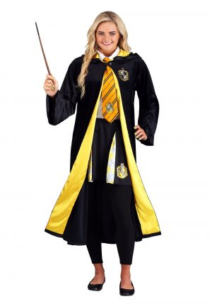 Fantasia de manto Harry Potter Deluxe Hufflepuff para adultos – Harry Potter Deluxe Hufflepuff Robe Costume for Adults