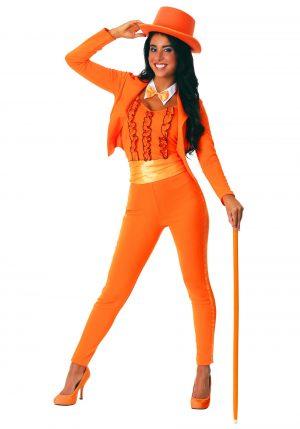 Fantasia de smoking laranja adulta – Adult Female Orange Tuxedo Costume