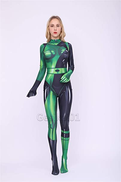 Fantasia Feminina Kim Possible – Kim Possible Female Shego Costume Super Villain Halloween Lycra Cosplay