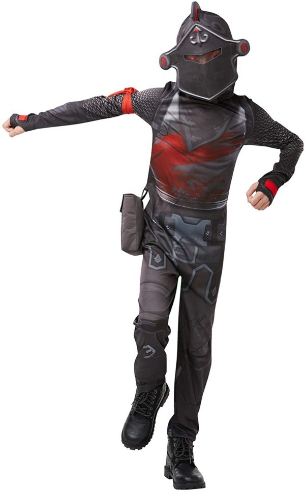 Fantasia Macacão Fortnite Black Knight  com Máscara e Acessórios – Fortnite Black Knight Costume Jumpsuit with Mask and Accessories
