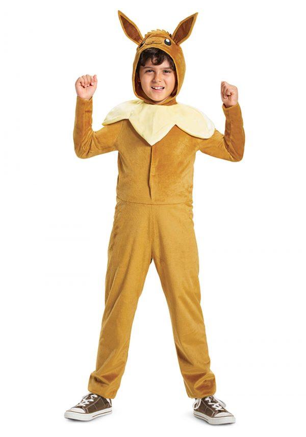 Fantasia clássico infantil Pokémon Evee com capuz macacão – Kids Pokemon Evee Hooded Jumpsuit Classic Costume