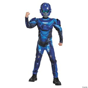 Fantasia de Halo Spartan Blue Muscle de Menino – Boy's Muscle Halo Blue Spartan Costume