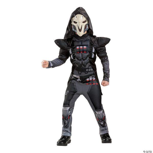 Fantasia de Reaper Muscular Clássico para Meninos – Boy's Classic Muscle Overwatch Reaper Costume