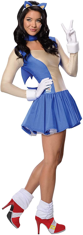 Fantasia de Sonic Feminina – Secret Wishes womens Sonic the Hedgehog, Adult Sonic Costume Dress and Accessories