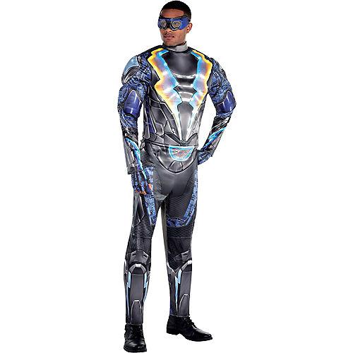 Fantasia de músculo relâmpago brilhante para adultos-Adult Light-Up Black Lightning Muscle Costume