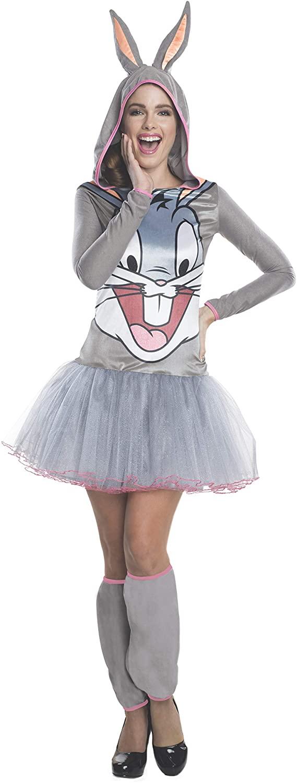 Fantasia feminino Looney Tunes Rubie's Pernalonga – Rubie's Women's Looney Tunes Bugs Bunny Hooded Costume Dress
