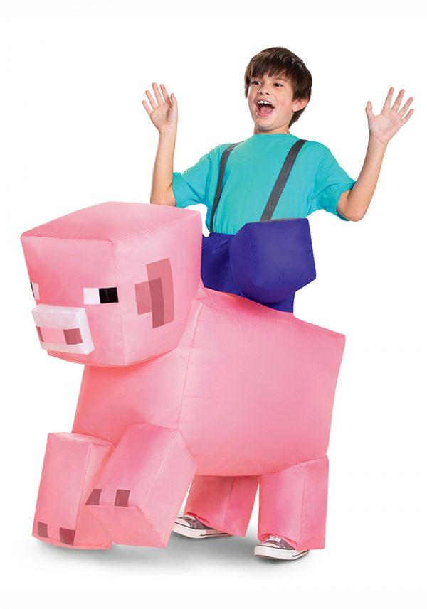 Fantasia infantil de porco inflável Minecraft Ride-On – Minecraft Ride-On Inflatable Pig Kids Costume