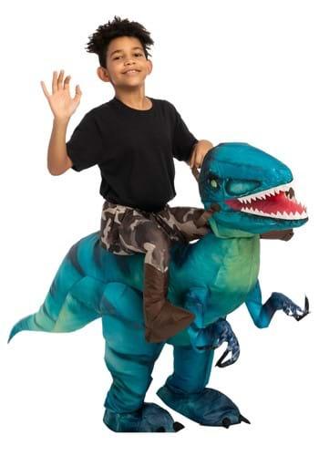 Fantasia inflável de raptor para crianças – Inflatable Raptor Ride-On Costume for Kids
