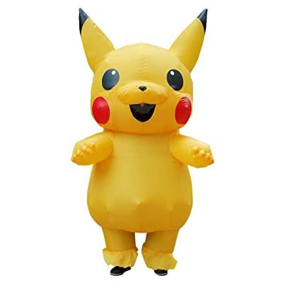 Fantasia inflável para Criança Pikachu – Kooynn Inflatable Yellow Costume Adult Kid Halloween Blow Up Costume