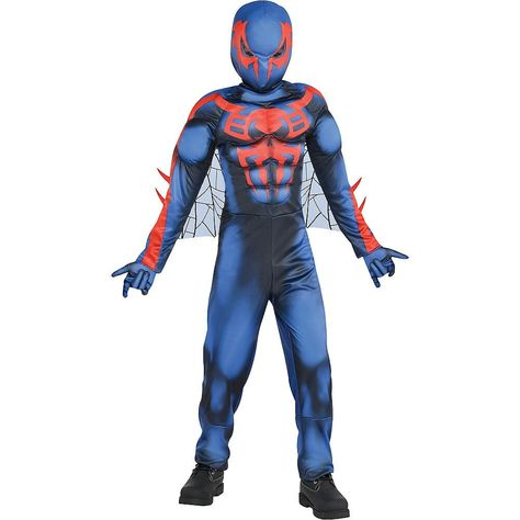 Fantasia muscular masculino de Homem Aranha 2099 –  Boys Spider Man 2099 Muscle Costume