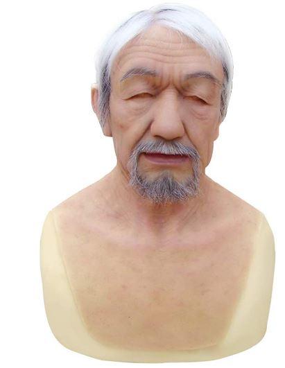 Máscara de cabeça de silicone realista masculina feita à mão  – Handmade realistic male silicone head mask for