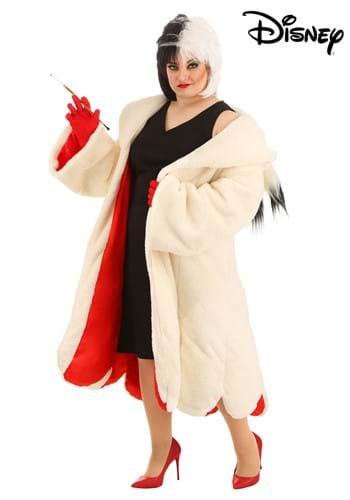 Fantasia Cruella De Vil para mulheres Plus Size 101 dálmatas da Disney – Cruella De Vil Coat Costume for Plus Size Women from Disney's 101 Dalmatians