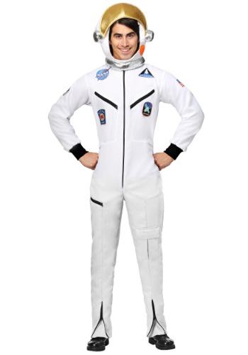 Fantasia Macacão de astronauta branco adulto plus size -White Astronaut Jumpsuit Adult Plus Size Costume