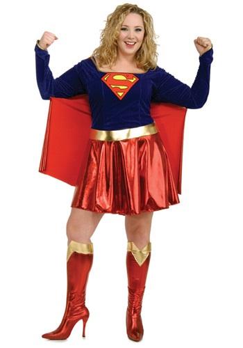 Fantasia de Supergirl Plus Size- Adult Plus Size Supergirl Costume