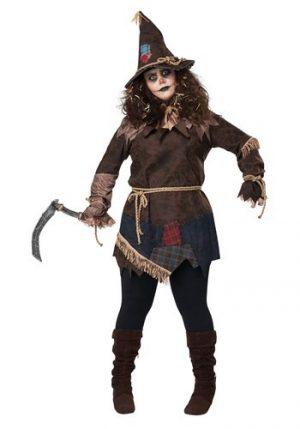Fantasia de espantalho assustador plus size para mulheres – Plus Size Creepy Scarecrow Costume for Women