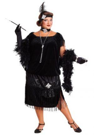 Fantasia de flapper preto tamanho plus size para mulheres – Plus Size Black Flapper Costume for Women