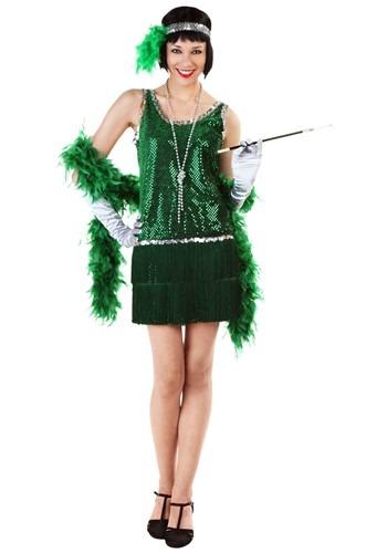 Fantasia de flapper verde com franja e lantejoulas plus size – Sequin & Fringe Green Flapper Costume Plus Size