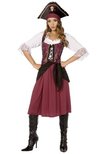 Fantasia de mulher pirata da Borgonha Plus Size – Plus Size Burgundy Pirate Wench Costume