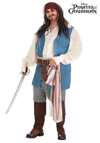 Fantasia do capitão Jack Sparrow PLus Size Piratas do Caribe da Disney – Captain Jack Sparrow Costume for Plus Size Men from Disney's Pirates of the Caribbean