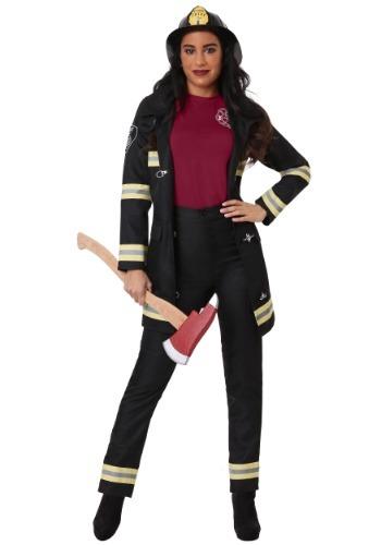 Fantasia feminina de bombeiro Plus Size – Plus Size Women's Black Firefighter Costume