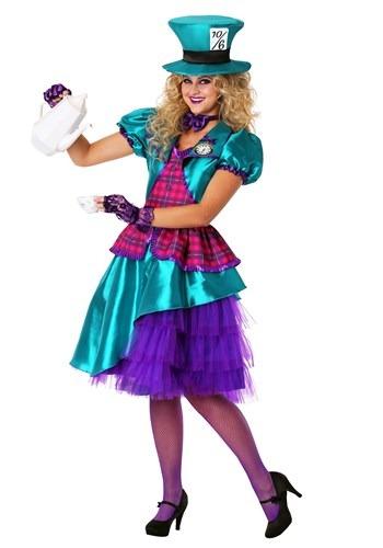 Fantasia feminina de chapeleiro azul-petróleo – Women's Plus Size Teal Hatter Costume
