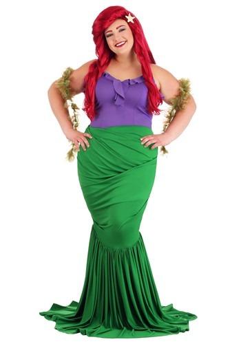 Fantasia feminina de sereia submarina plus size- Women's Plus Size Undersea Mermaid Costume