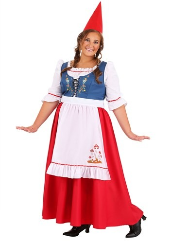 Fantasia plus size de Gnomo de Jardim -Plus Size Garden Gnome Women's Costume