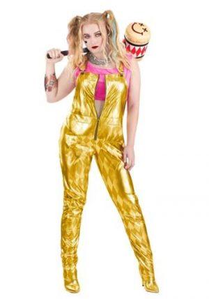 fantasia de macacão Harley Quinn Gold Plus Size para mulheres – Plus Size Harley Quinn Gold Overalls Costume for Women