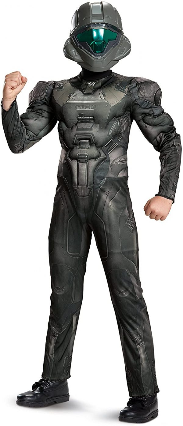 Fantasia infantil Halo Spartan Buck Classic -Halo Spartan Buck Classic Muscle Costume Black