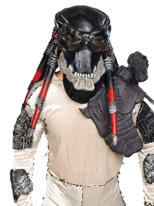 Máscara Deluxe Adulto Preto Predator Latex – Deluxe Adult Black Predator Overhead Latex Mask