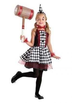 Fantasia de Harley Quinn da Borgonha – Burgundy Harlequin Costume for Kids