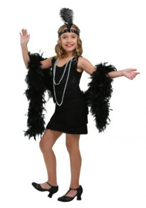 Fantasia de menina melindrosa com franja preta – Girl's Black Fringe Flapper Costume